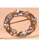 Vintage Costume Jewelry Goldtone & Rhinestone Circle Pin - $6.59