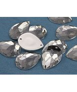 25x18mm Crystal Clear H102 Teardrop Flat Back Sew On Gems For Craft, -15... - $6.05