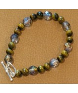 "7"" Tiger Eye Gemstone and Czech Glass Sterling ... - $14.98"