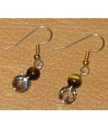 Tiger Eye Gemstone and Czech Glass Earrings - $11.78