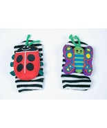 LAMAZE BABY FOOT FINDER SOCKS WITH RATTLES STRIPED LADYBUG & BUTTERFLY - $9.89