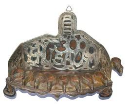 Judaica Oil Menorah Hanukkah Vintage Israel Silver Copper Jerusalem 1960's