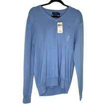 Polo Ralph Lauren Mens Pullover Sweater Essex Blue V Neck Pima Cotton M New - $30.84