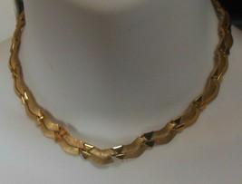 """Signed TRIFARI Brushed Gold-tone Hinged Choker necklace 16"""" - $55.00"""