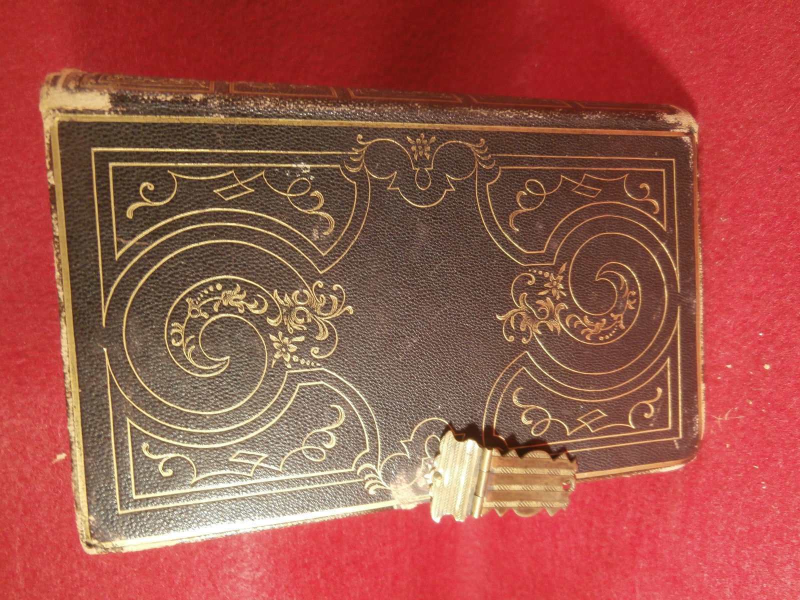 "Antique Leather Bound Book Methodist Hymns 1849 Brown 4 1/4"" X 61/4"" w/ Clasp"
