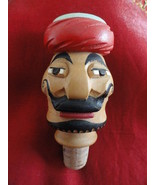 Carved Turkish Wood Wine Bottle Stopper Figural Man With Red Turban Must... - $19.99