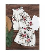 Two Piece Set Floral Chiffon Women Romper - $39.84