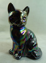 Fenton Sitting Cat Black Carnival Glass Kitten Kitty - $65.44