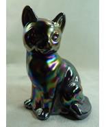 Fenton Sitting Cat Black Carnival Glass Kitten Kitty - $65.44