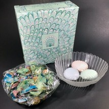 Vintage Avon French Arcoroc Glass SEASHELL Soap Dish w/ GUEST SOAPS~NEW/BOX - $14.92