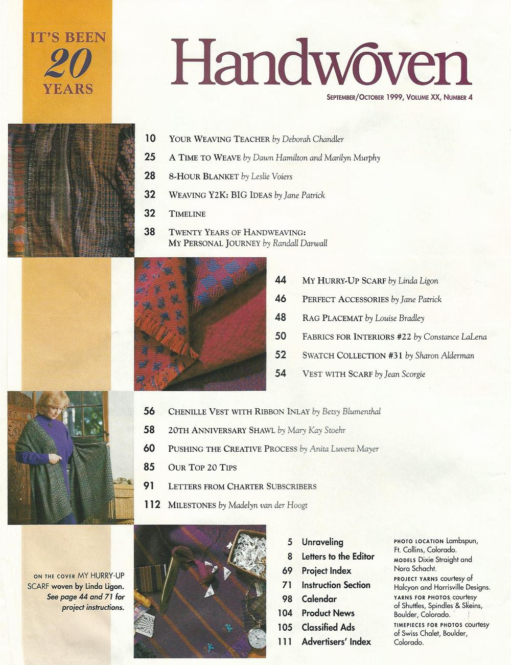 Handwoven Magazine~September/October 1999