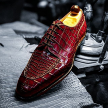 Handmade Men's Maroon Crocodile Texture Lace Up Dress Oxford Leather Shoes image 4