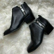 Kenneth Cole Addy Size 6 Black Pebbled Leather Heeled Ankle Boots Zipper Booties - $69.29