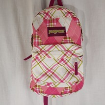 JanSport T501 SuperBreak Classic 25L Backpack Pink Green White Plaid - $29.66