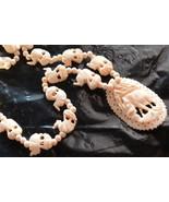 Ivory Bone Elephant Necklace Vintage - $220.00
