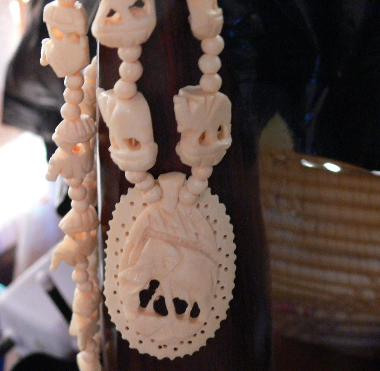 Ivory Bone Elephant Necklace Vintage