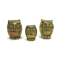 Lot of 3 | Vintage Brass OWL Paperweights | Original Gimbels Sticker | P... - $19.75
