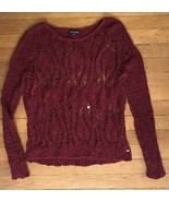 ! American Eagle open stitch burgundy red crochet knit Sweater Crew small - $24.75
