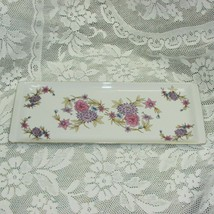 "HOLLOHAZA PORCELAIN TRAY 15"" FLORAL PINK PURPLE FLOWERS VINTAGE 4834-12 ... - $24.99"