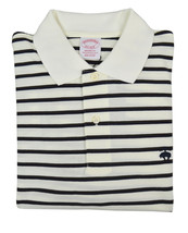 Brooks Brothers Mens Ivory White Striped Original Fit  Polo Shirt Medium 3211-4 - $55.07