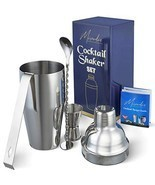 Cocktail Shaker Bar Tools Set – Premium Bartender Accessories Kit – 24 o... - £16.53 GBP