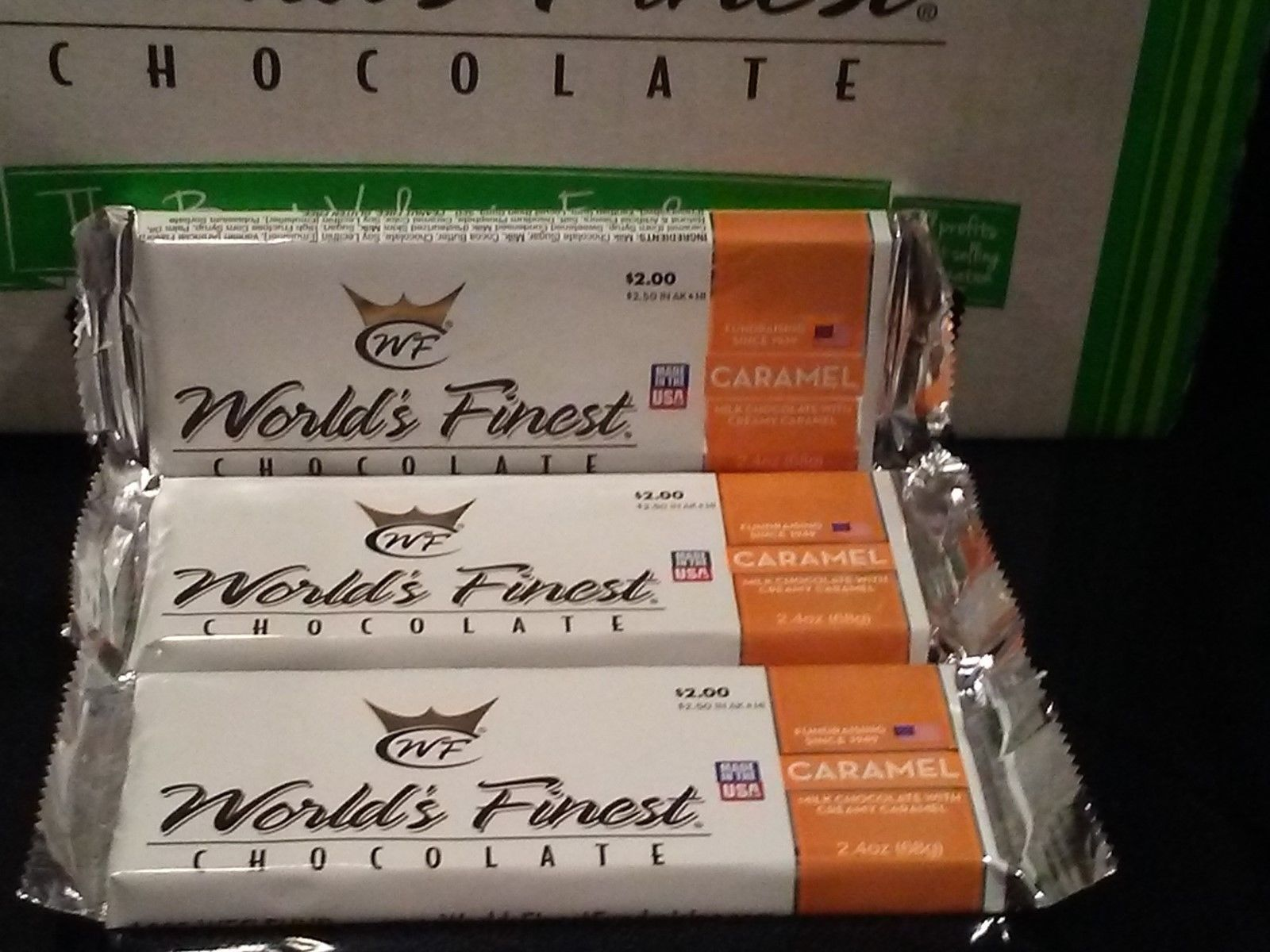 Primary image for WORLD'S FINEST CHOCOLATE Caramel 3 x $2.00 Each Bars