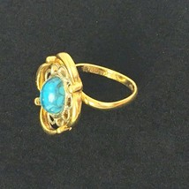 Sarah Coventry Adjustable Ring Faux Turquoise Costume Gold Tone Mothers Day  - $12.99
