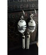 Oval lamp work chain tassels earrings - $30.15