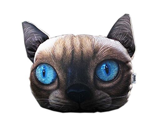 3D Cute Pet Dogs and Cats Face Head Pillow, Nice Cat