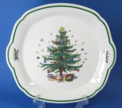 Nikko Happy Holidays Cake Plate Closed Handles Christmas Tree Serving Tray - $15.00