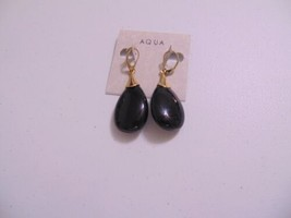 "Aqua 2.25"" Gold Tone Black Stone Dangle Drop Earrings L255 - $11.51"