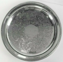"Elegant Vintage 12"" Wm A Rogers Silverplate Etched Large Round Serving Tray - $29.99"