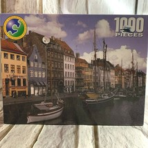Puzzle World 1000 pieces Seaside Village Boats Water Copenhagen Denmark ... - $17.45