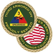 "ARMY 3RD THIRD ARMORED DIVISION SPEARHEAD 1.75"" MADE IN USA CHALLENGE COIN - $18.04"