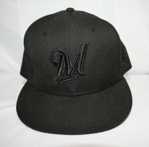Milwaukee Brewers Baseball Hat ~  Black Embroidered ~ Size 7-3/8 - £9.14 GBP
