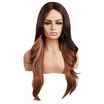 """Ama 26"""" Ombre Synthetic Wigs 1B/Blonde Dark Roots Long Wavy Synthetic Lace Front image 1"""