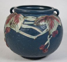 "Roseville Pottery Blackberry Planter Vase Dark Blue 6"" Reproduction - $29.70"