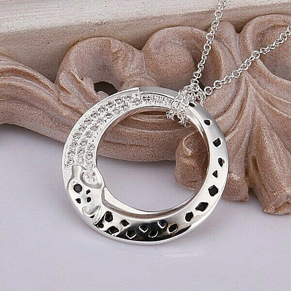 Primary image for Leopard Pendant Necklace With Crystal Accent 925 Sterling Silver NEW