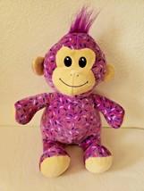 Six Flags Game Prize Monkey Plush Stuffed Animal Sprinkles Confetti Purple - $24.73