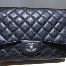 AUTHENTIC CHANEL BLACK CAVIAR QUILTED JUMBO CLASSIC FLAP BAG SILVER HARDWARE image 4