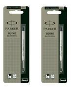 2 x Parker Quink Flow Ball Point Pen Refills BallPen Black Medium New Sealed