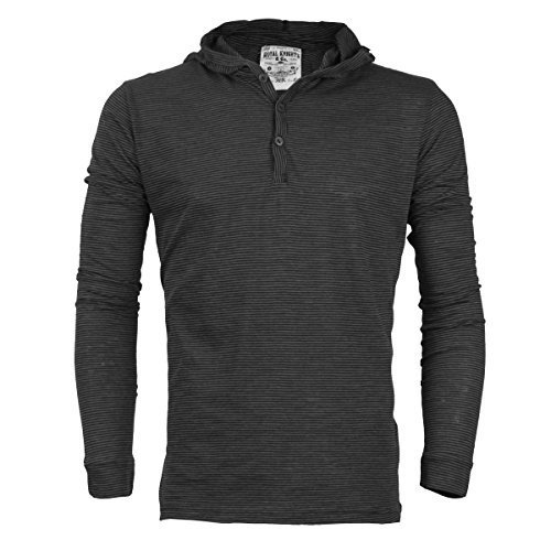 Royal Knights Men's Lightweight Slim Fit Pullover Henley Shirt Hoodie (XL, 01 -