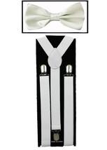 White SUSPENDERS and BOW TIE COMBO SET Unisex Adjustable Suspender Bowtie - $7.25