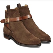 Handmade Men's High Ankle Suede Monk Strap Boots image 5