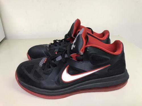 53a2cfc26886 Nike LEBRON IX 9 Low BLACK WHITE COOL GREY SPORT RED BRED 510811-003 Sz 11