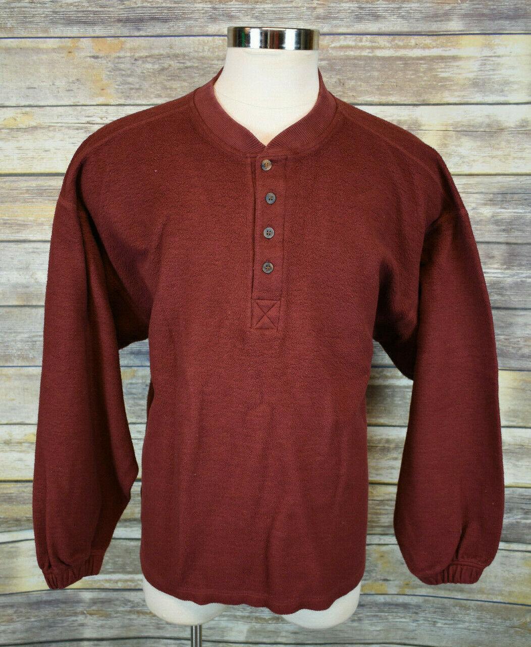 Mens Jansport Burgundy Sweatshirt Sweater 1/2 Button Cotton Blend XL - $18.81