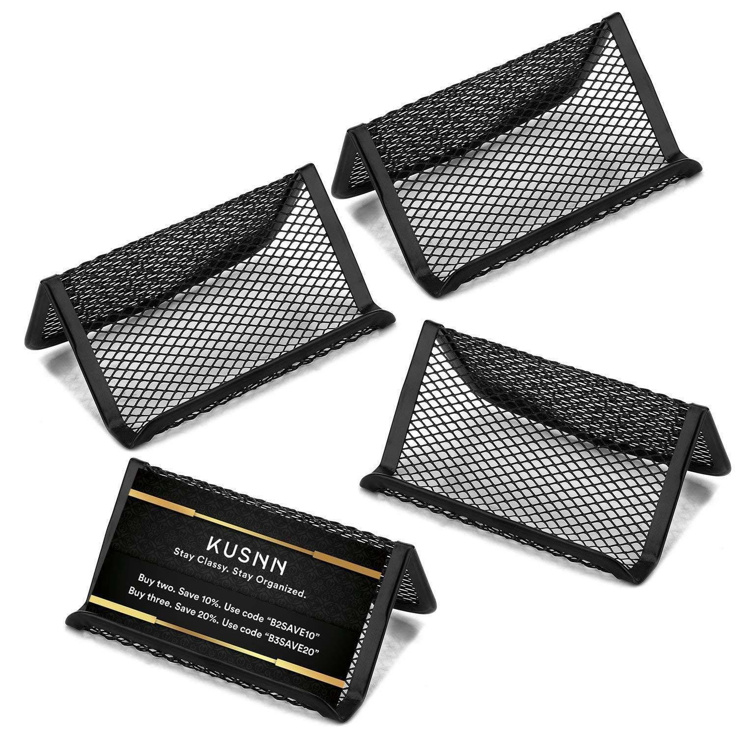 Primary image for 4 pack Mesh Metal Business Card Holder Stand & Cell Phone holder Gift Ideal