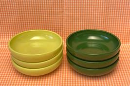Vintage Hazel Atlas platonite bowls green yellow chartreuse set of 6 salad soup - $18.00