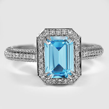 Engagement Ring Rectangular Shape Aquamarine White Gold Plated 925 Pure ... - $78.26