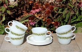 Pyrex Milk Glass Spring Blossom Set 6 Ring Handle Coffee Cups w/Saucers  - $24.99